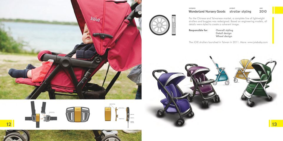 Responsible for: Overall styling Detail design Wheel design The JOIE strollers launched in Taiwan in 2011. More: www.joiebaby.