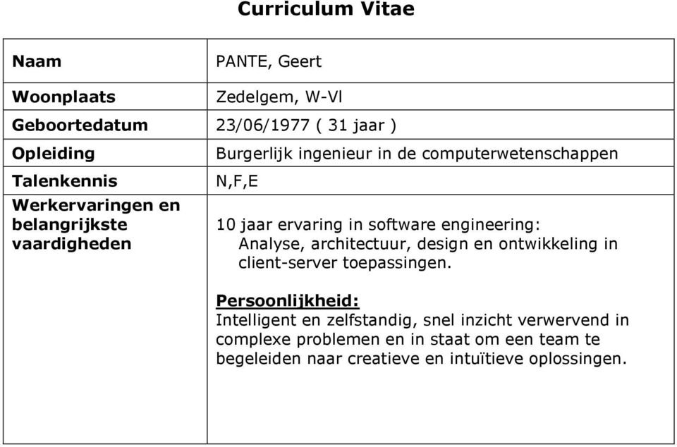 software engineering: Analyse, architectuur, design en ontwikkeling in client-server toepassingen.