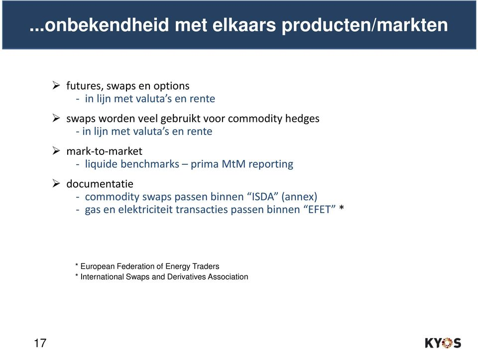 prima MtM reporting documentatie - commodity swaps passenbinnen ISDA (annex) - gas en elektriciteit