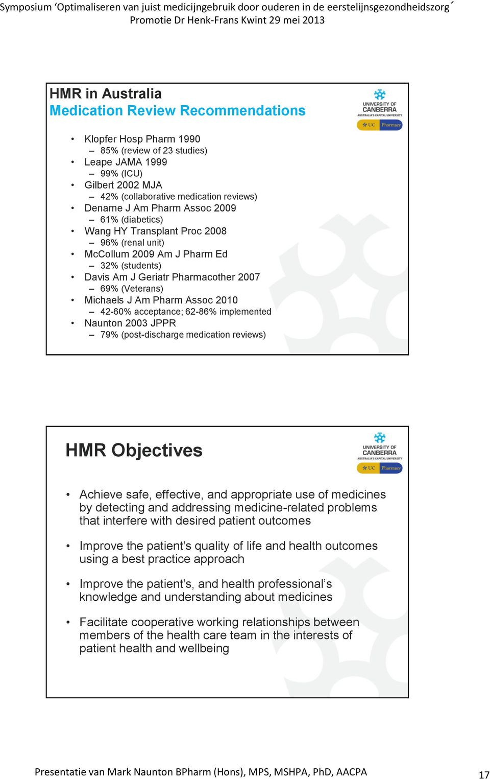 acceptance; 62-86% implemented Naunton 2003 JPPR 79% (post-discharge medication reviews) HMR Objectives Achieve safe, effective, and appropriate use of medicines by detecting and addressing