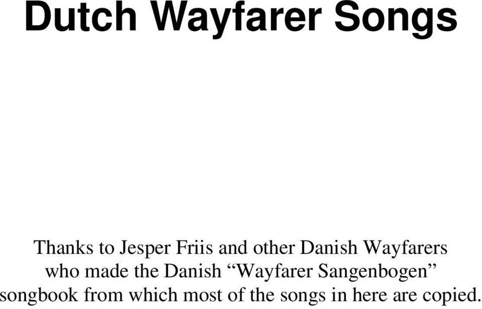 the Danish Wayfarer Sangenbogen songbook