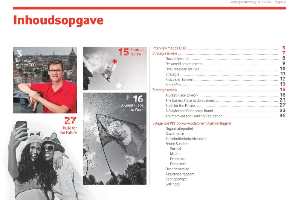 Easiest Place to do Business Build for the Future A Playful and Connected Brand An Improved and Leading Reputation Bijlage (zie PDF op www.vodafone.