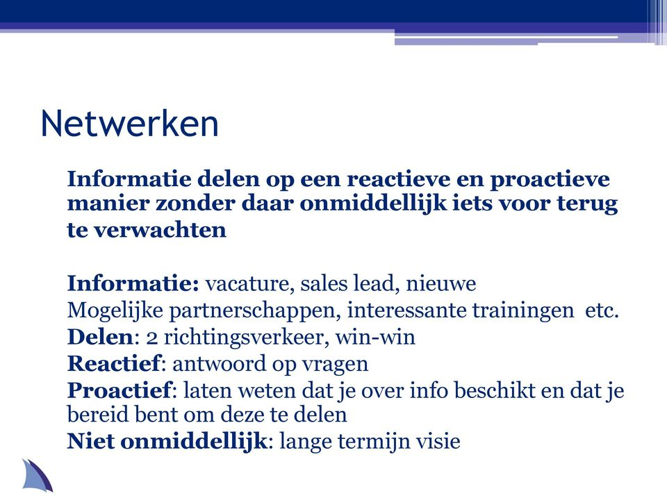 trainingen etc.