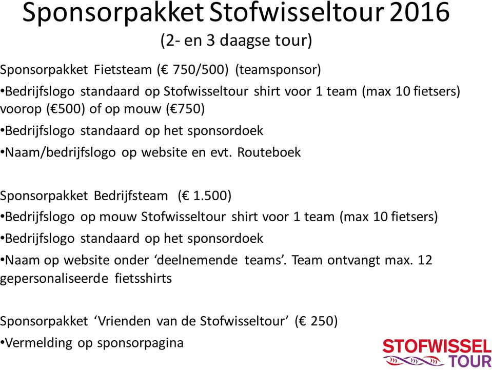 Routeboek Sponsorpakket Bedrijfsteam ( 1.
