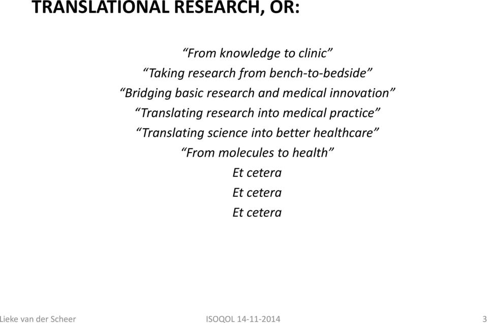 research into medical practice Translating science into better healthcare From
