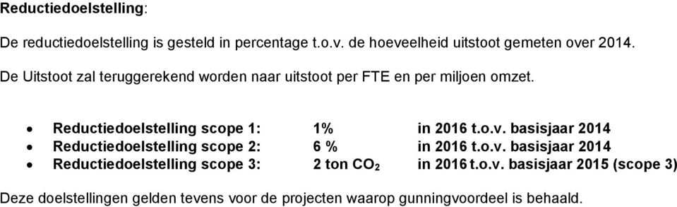 Reductiedoelstelling scope 1: 1% in t.o.v. basisjaar 2014 Reductiedoelstelling scope 2: 6 % in t.o.v. basisjaar 2014 Reductiedoelstelling scope 3: 2 ton CO 2 in t.
