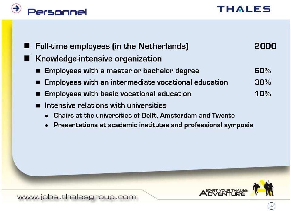 Employees with basic vocational education 10% Intensive relations with universities Chairs at the