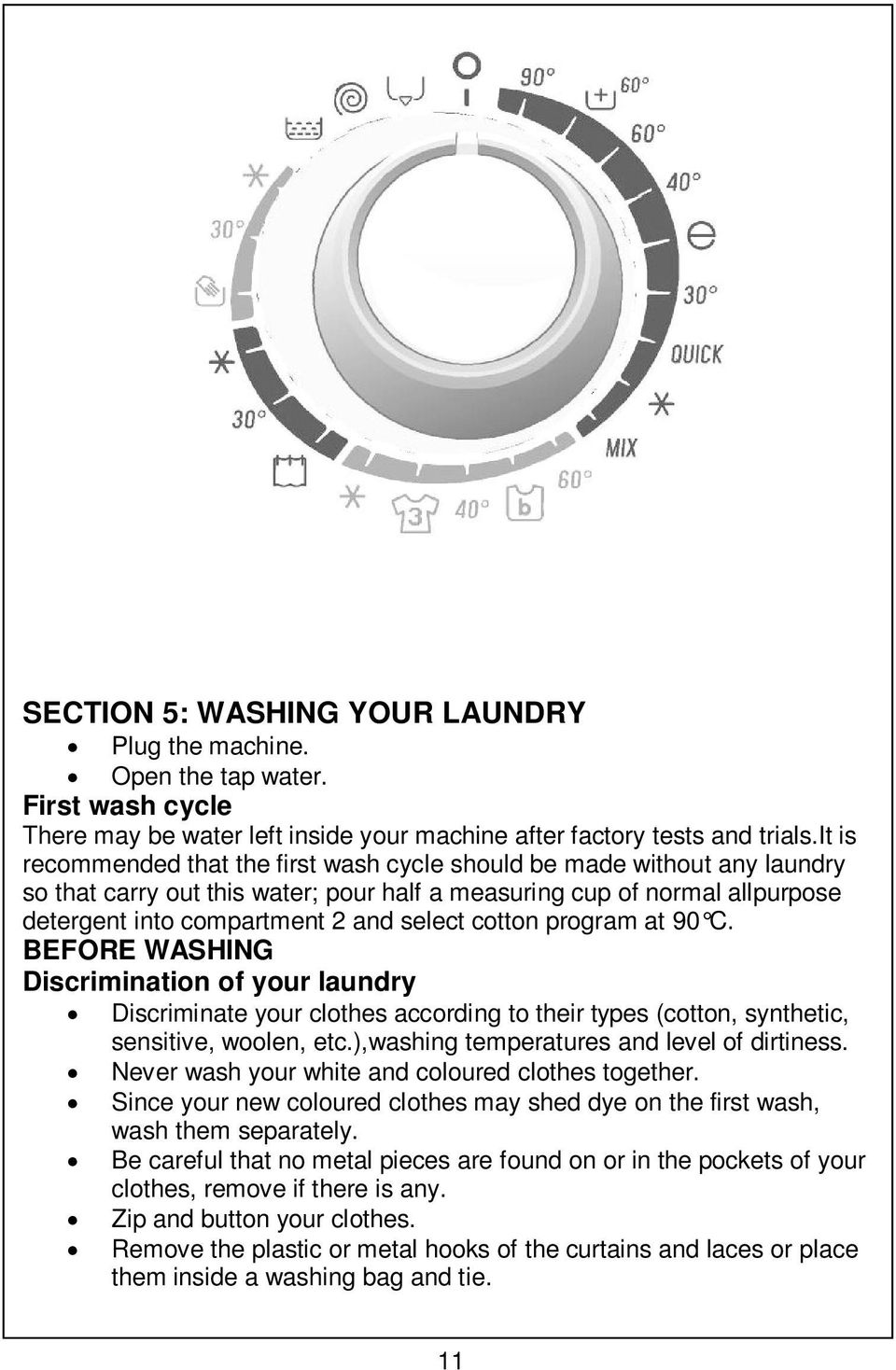 cotton program at 90 C. BEFORE WASHING Discrimination of your laundry Discriminate your clothes according to their types (cotton, synthetic, sensitive, woolen, etc.