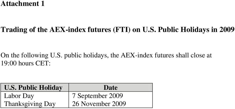public holis, the AEX-index futures shall close at 19:00 hours
