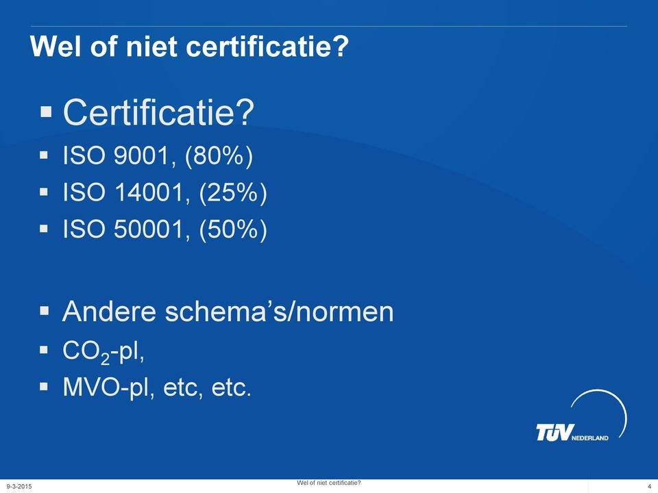 (25%) ISO 50001, (50%) Andere