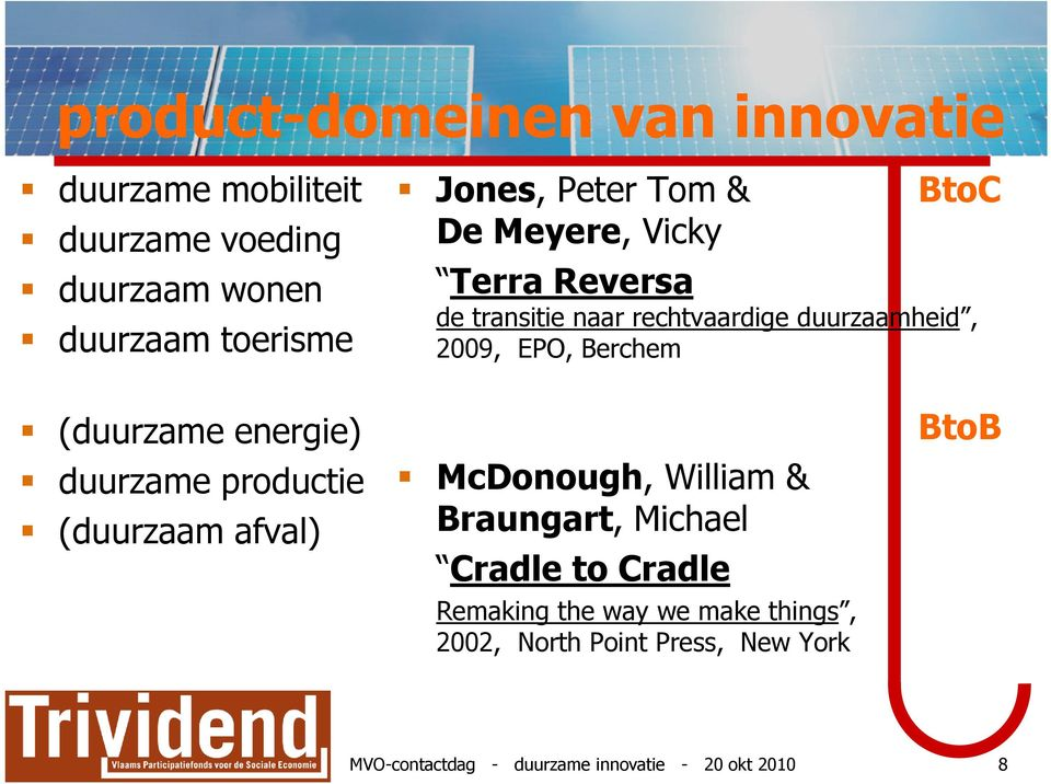 (duurzame energie) duurzame productie (duurzaam afval) McDonough, William & Braungart, Michael Cradle to Cradle