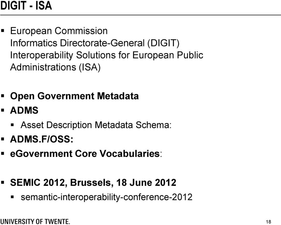 Government Metadata ADMS Asset Description Metadata Schema: ADMS.
