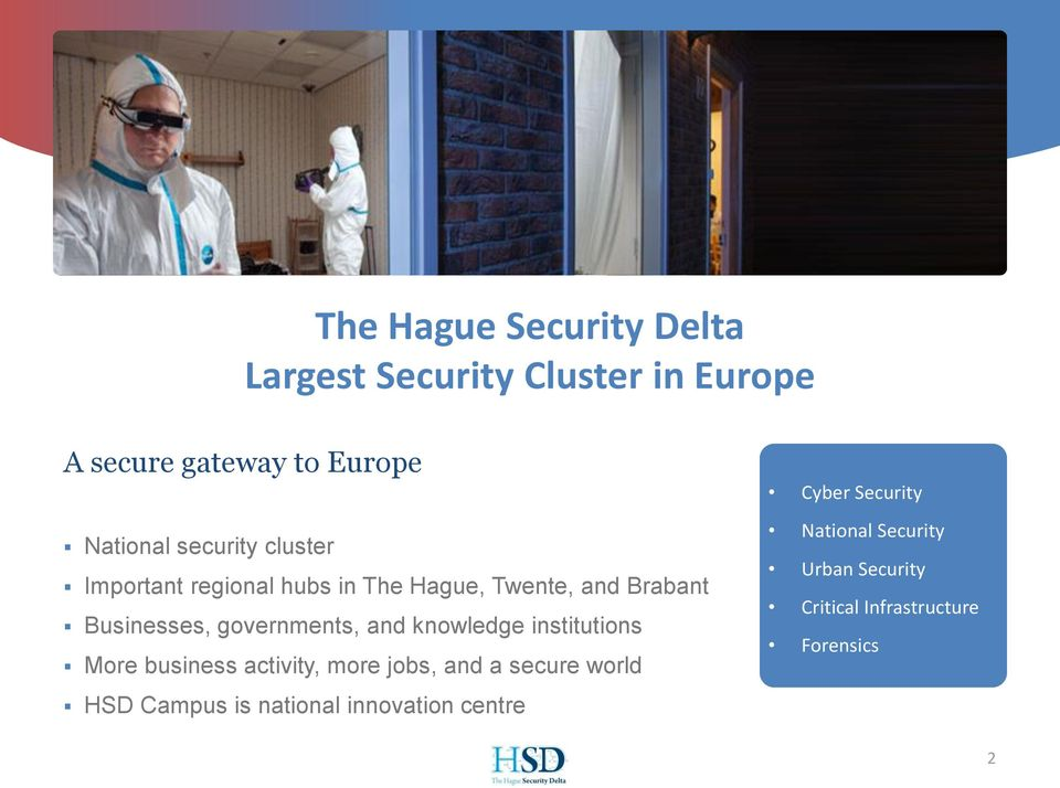 and knowledge institutions More business activity, more jobs, and a secure world HSD Campus is