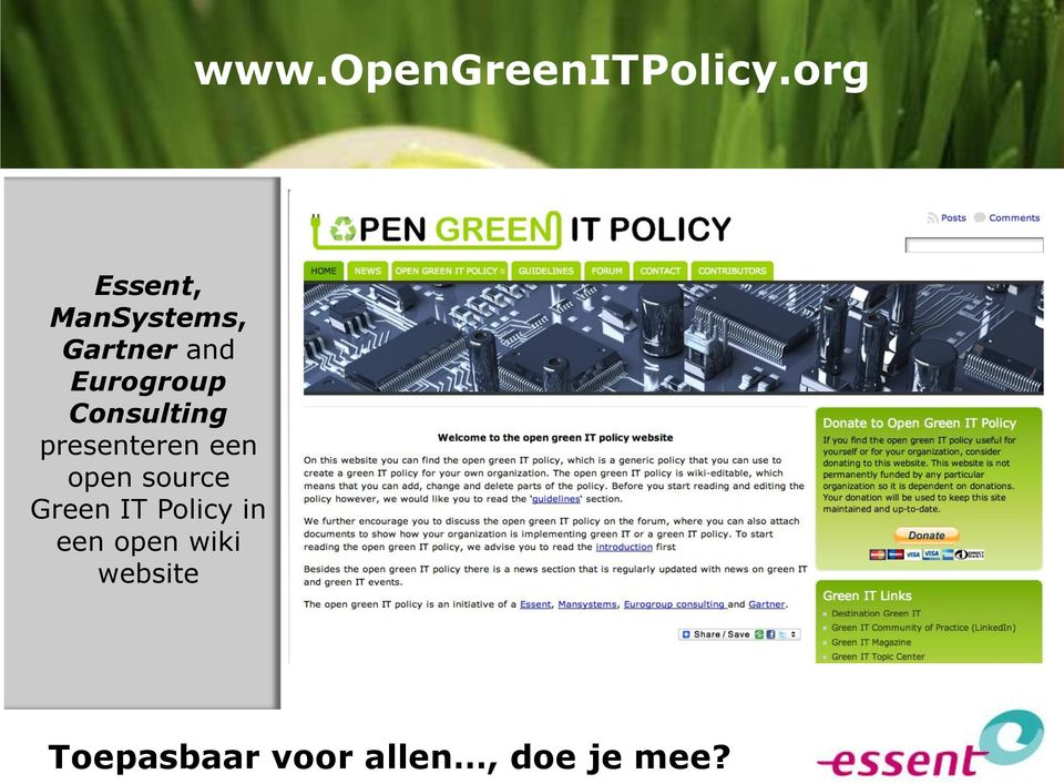 Consulting presenteren een open source Green