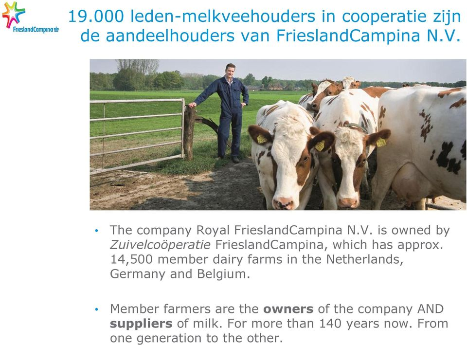 is owned by Zuivelcoöperatie FrieslandCampina, which has approx.