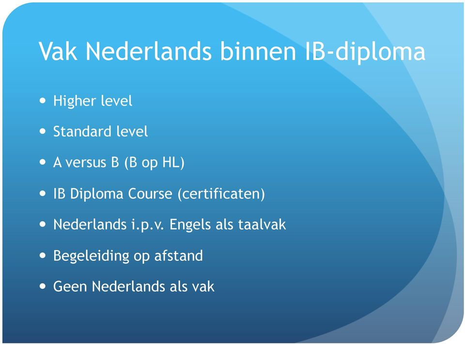 Course (certificaten) Nederlands i.p.v.