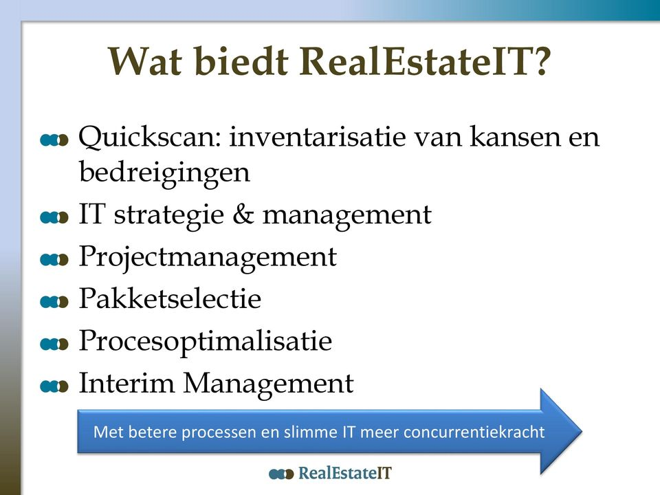 strategie & management Projectmanagement Pakketselectie