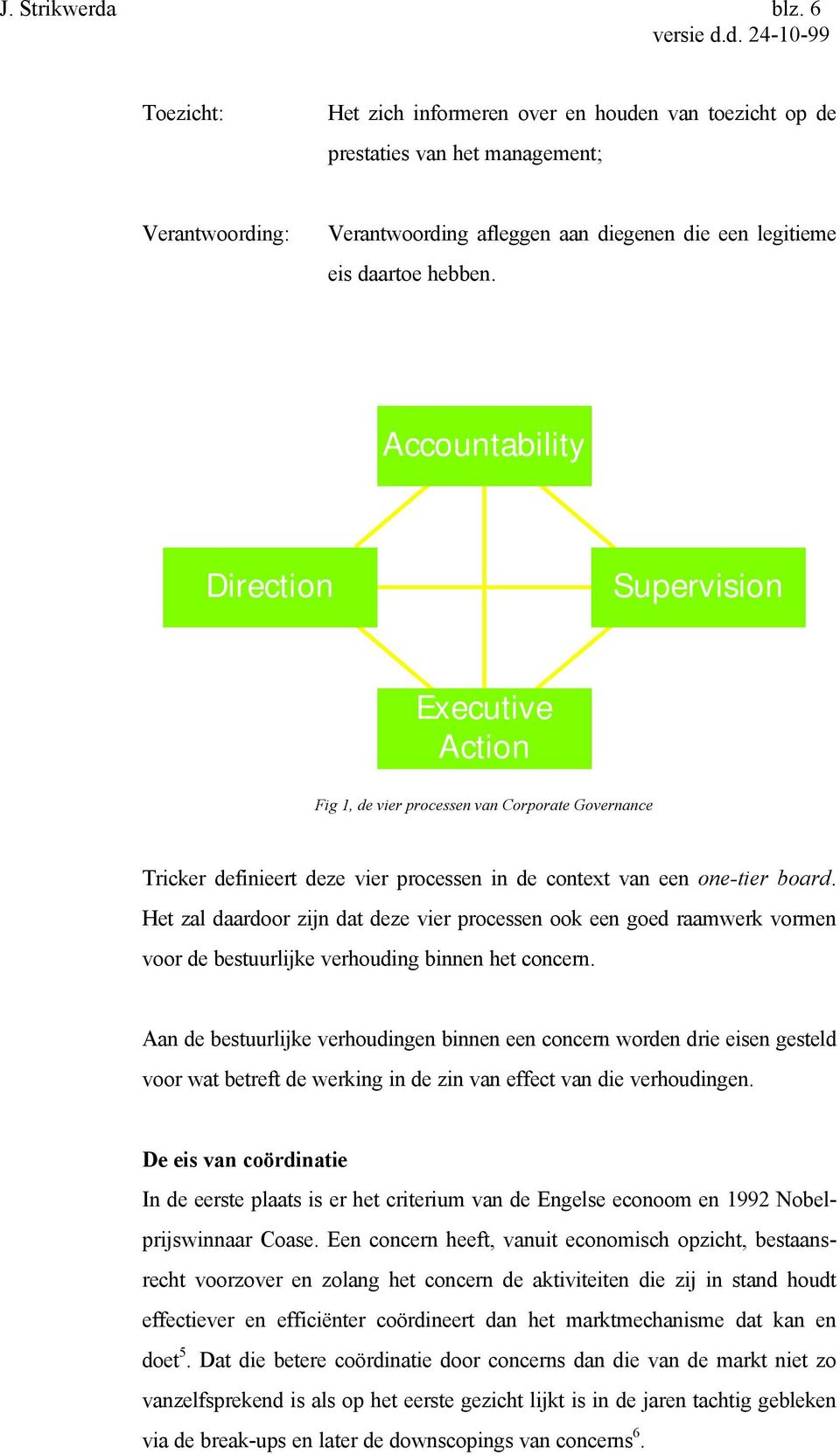 Accountability Direction Supervision Executive Action Fig 1, de vier processen van Corporate Governance Tricker definieert deze vier processen in de context van een one-tier board.