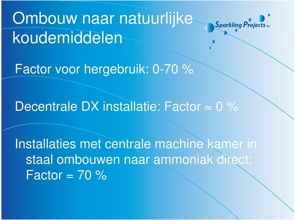 Factor = 0% Installaties met centrale machine