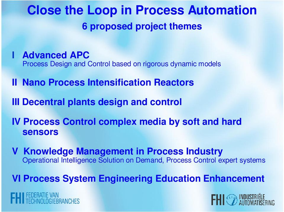 Process Control complex media by soft and hard sensors V Knowledge Management in Process Industry Operational