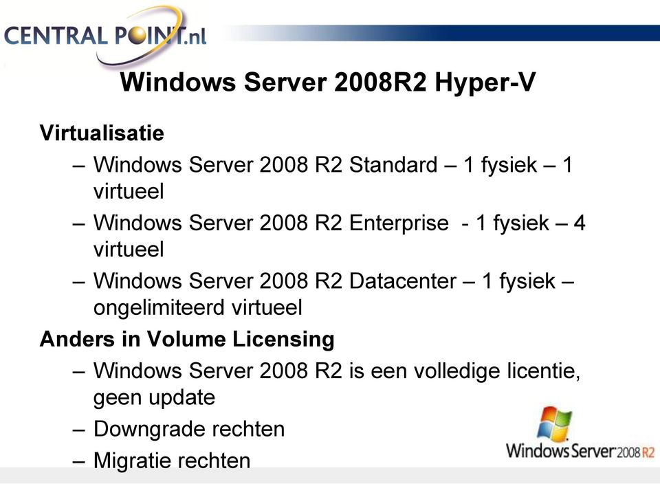 2008 R2 Datacenter 1 fysiek ongelimiteerd virtueel Anders in Volume Licensing Windows