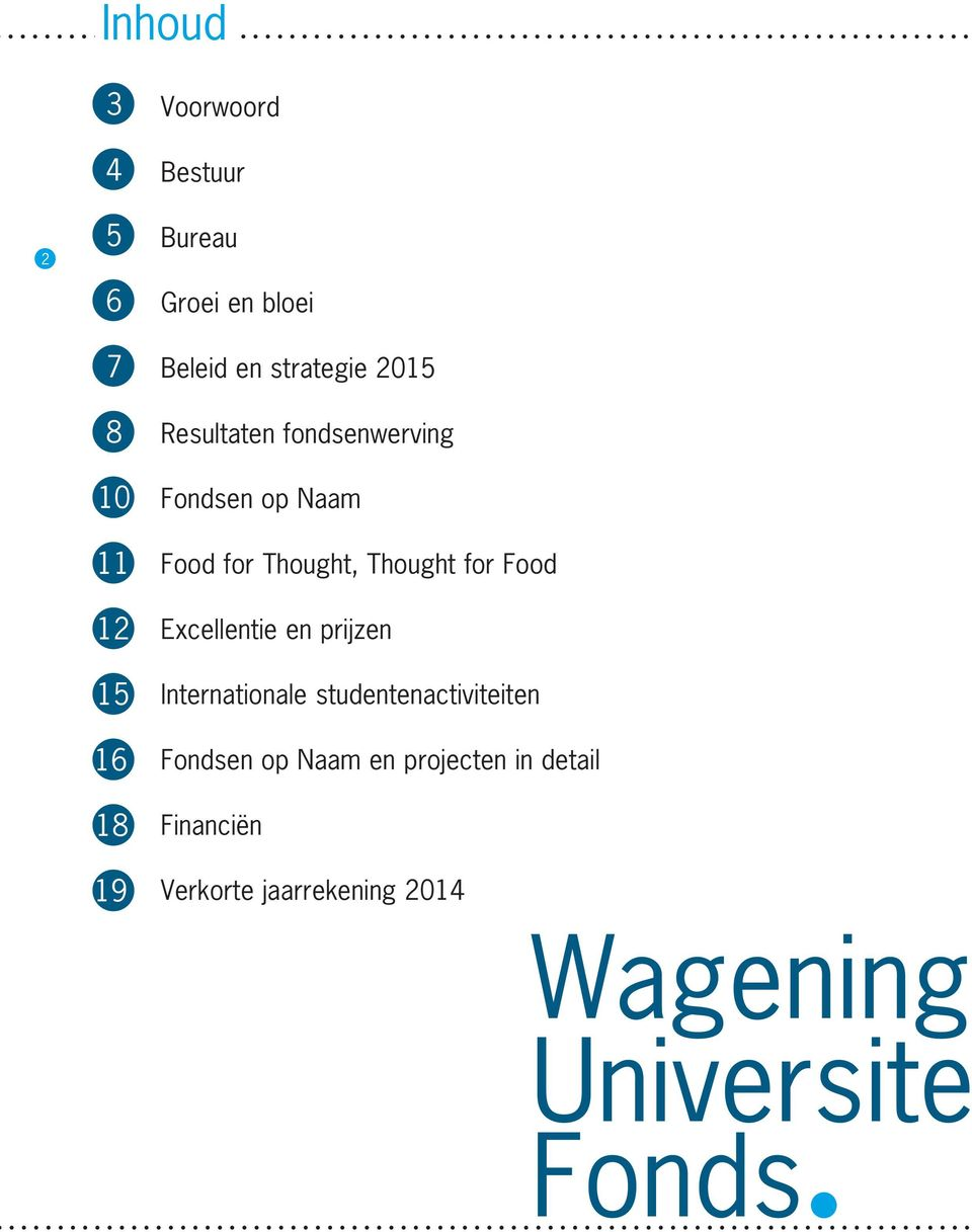 Beleid en strategie 2015 Resultaten fondsenwerving Fondsen op Naam Food for Thought,
