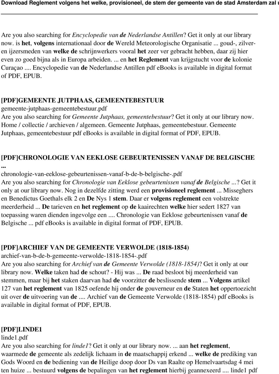 ... en het Reglement van krijgstucht voor de kolonie Curaçao... Encyclopedie van de Nederlandse Antillen pdf ebooks is available in digital format of PDF, EPUB.