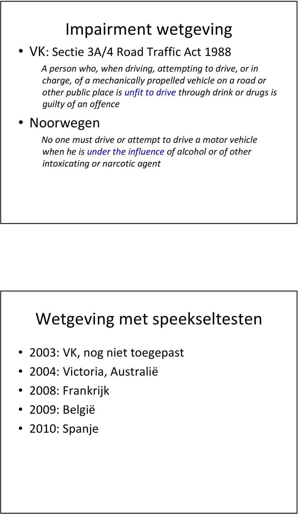 Noorwegen No one must drive or attempt to drive a motor vehicle when he is under the influenceof alcohol or of other intoxicating