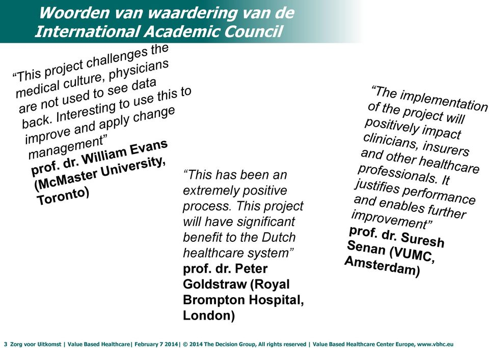 Peter Goldstraw (Royal Brompton Hospital, London) 3 Zorg voor Uitkomst Value Based Healthcare