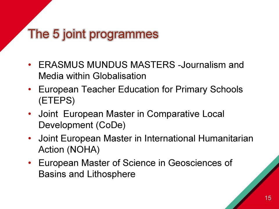 Master in Comparative Local Development (CoDe) Joint European Master in International