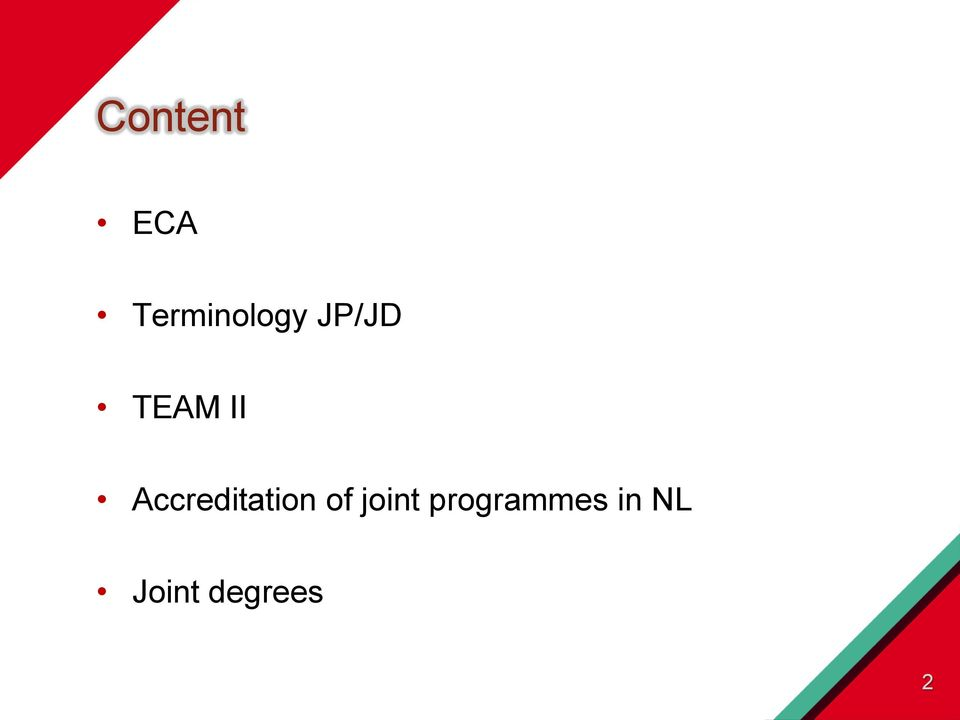 Accreditation of joint