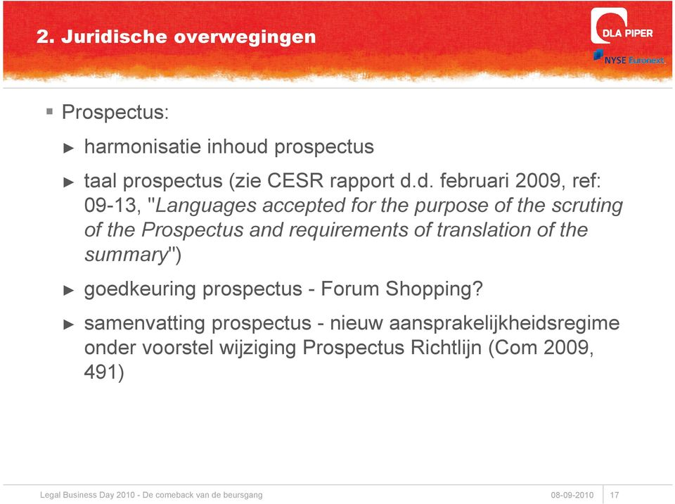 "and requirements of translation of the summary"") goedkeuring prospectus - Forum Shopping?"