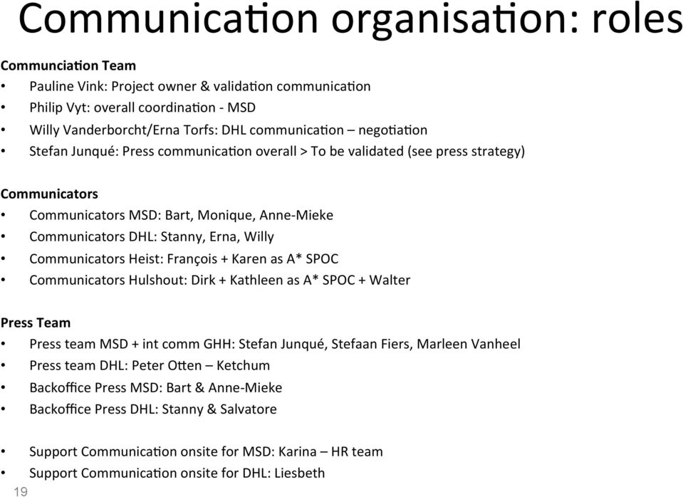Heist: François + Karen as A* SPOC Communicators Hulshout: Dirk + Kathleen as A* SPOC + Walter Press Team Press team MSD + int comm GHH: Stefan Junqué, Stefaan Fiers, Marleen Vanheel Press team DHL: