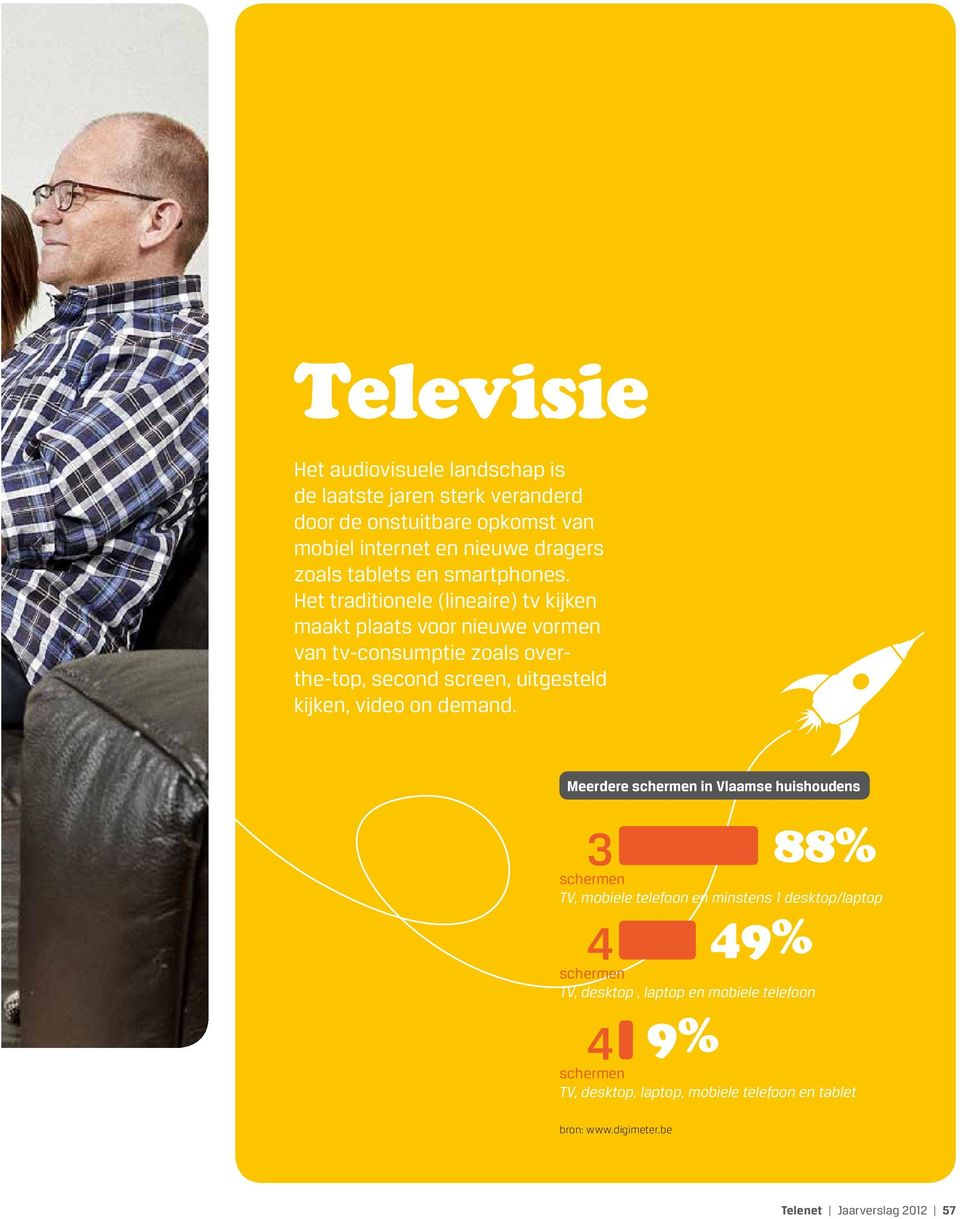 Het traditionele (lineaire) tv kijken maakt plaats voor nieuwe vormen van tv-consumptie zoals overthe-top, second screen, uitgesteld kijken, video on