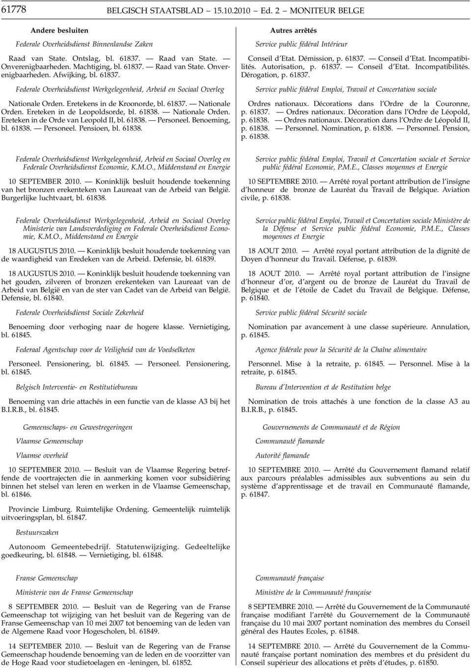 61837. Nationale Orden. Ereteken in de Leopoldsorde, bl. 61838. Nationale Orden. Ereteken in de Orde van Leopold II, bl. 61838. Personeel. Benoeming, bl. 61838. Personeel. Pensioen, bl. 61838. Autres arrêtés Service public fédéral Intérieur Conseil d Etat.