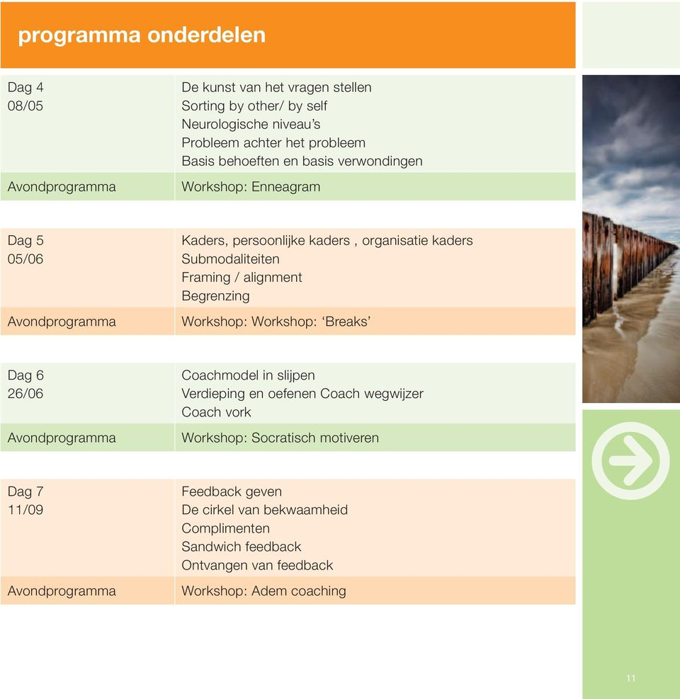 alignment Begrenzing Workshop: Workshop: Breaks Dag 6 26/06 Avondprogramma Coachmodel in slijpen Verdieping en oefenen Coach wegwijzer Coach vork Workshop: