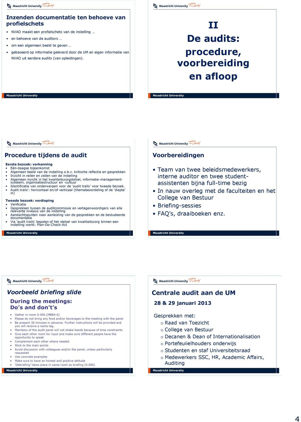 II De audits: procedure, vo