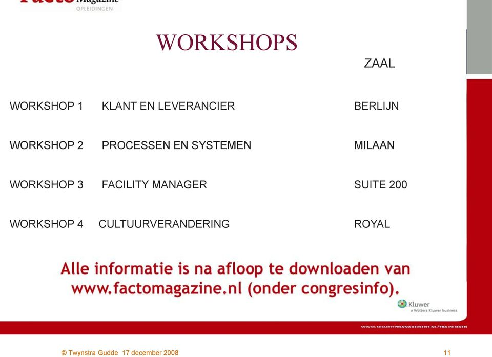 EN SYSTEMEN MILAAN WORKSHOP 3 FACILITY MANAGER SUITE 200 donderdag 17
