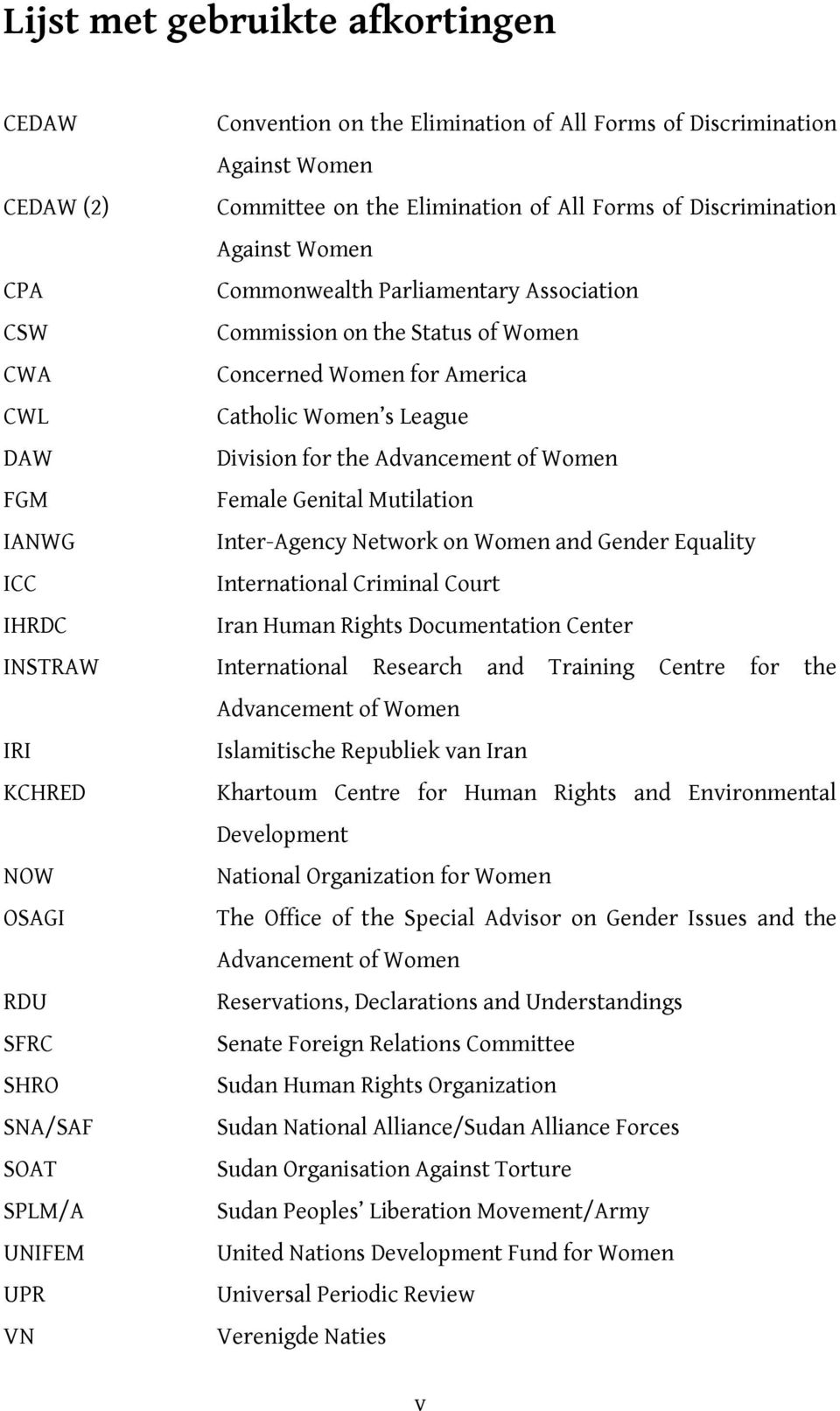 Genital Mutilation IANWG Inter-Agency Network on Women and Gender Equality ICC International Criminal Court IHRDC Iran Human Rights Documentation Center INSTRAW International Research and Training