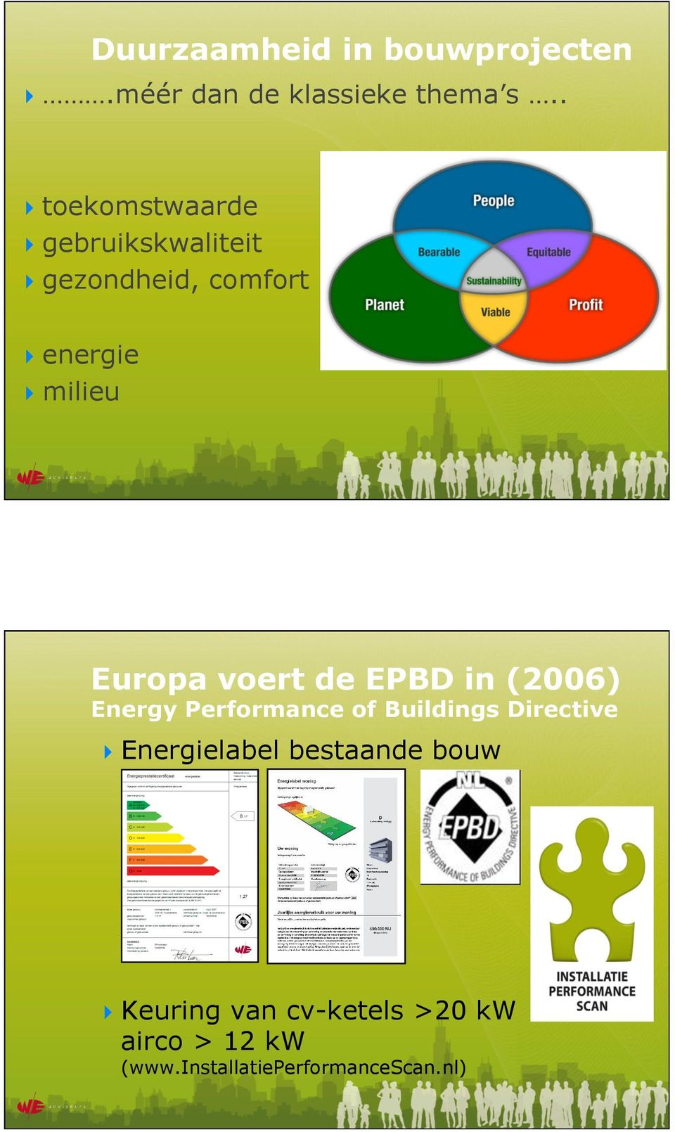 milieu Europa voert de EPBD in (2006) Energy Performance of Buildings Directive!