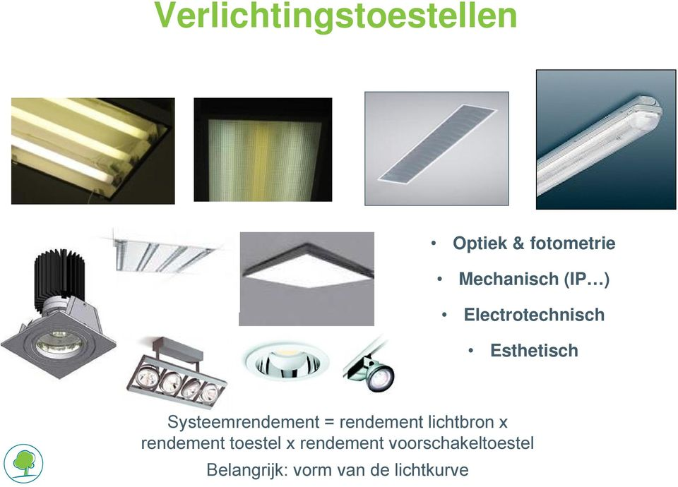 Systeemrendement = rendement lichtbron x rendement