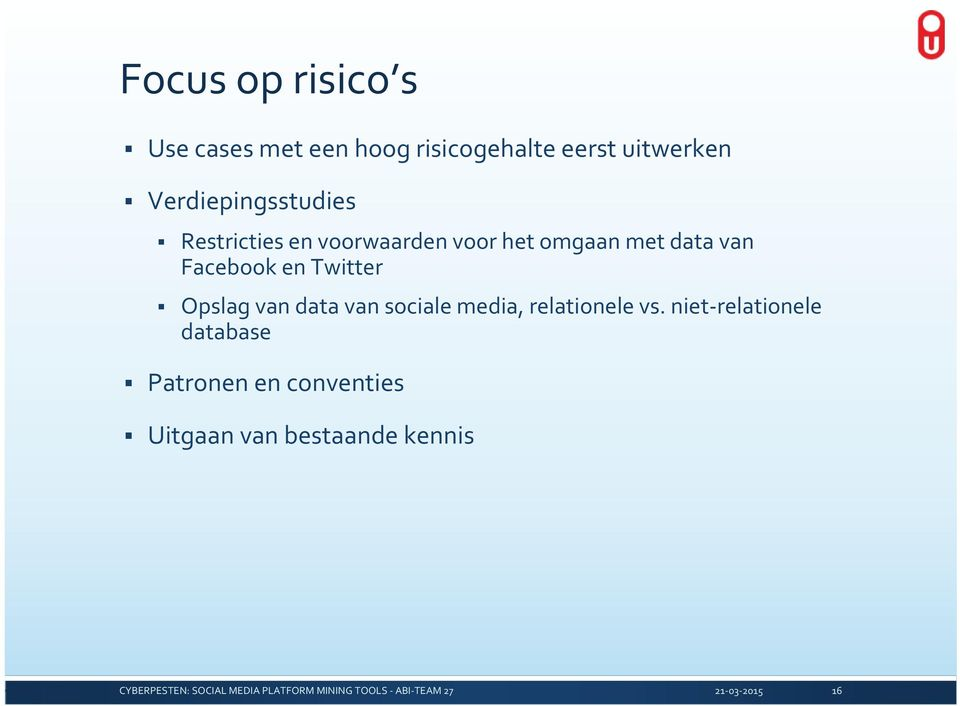 Facebook en Twitter Opslag van data van sociale media, relationele vs.
