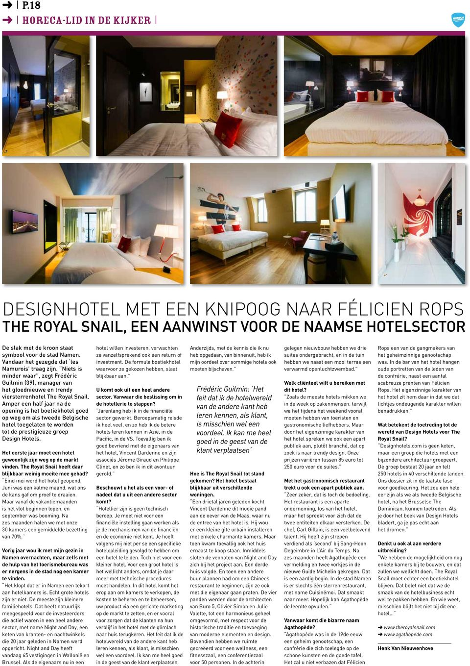 P 7 de offici le krant van de federaties horeca for Hotel design wallonie