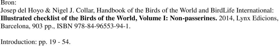 International: Illustrated checklist of the Birds of the World,
