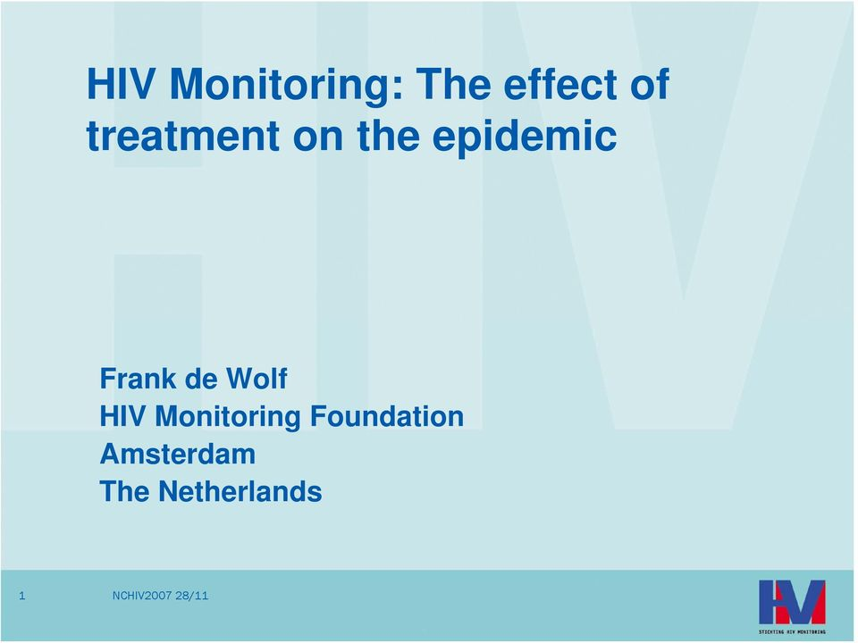 Frank de Wolf HIV Monitoring