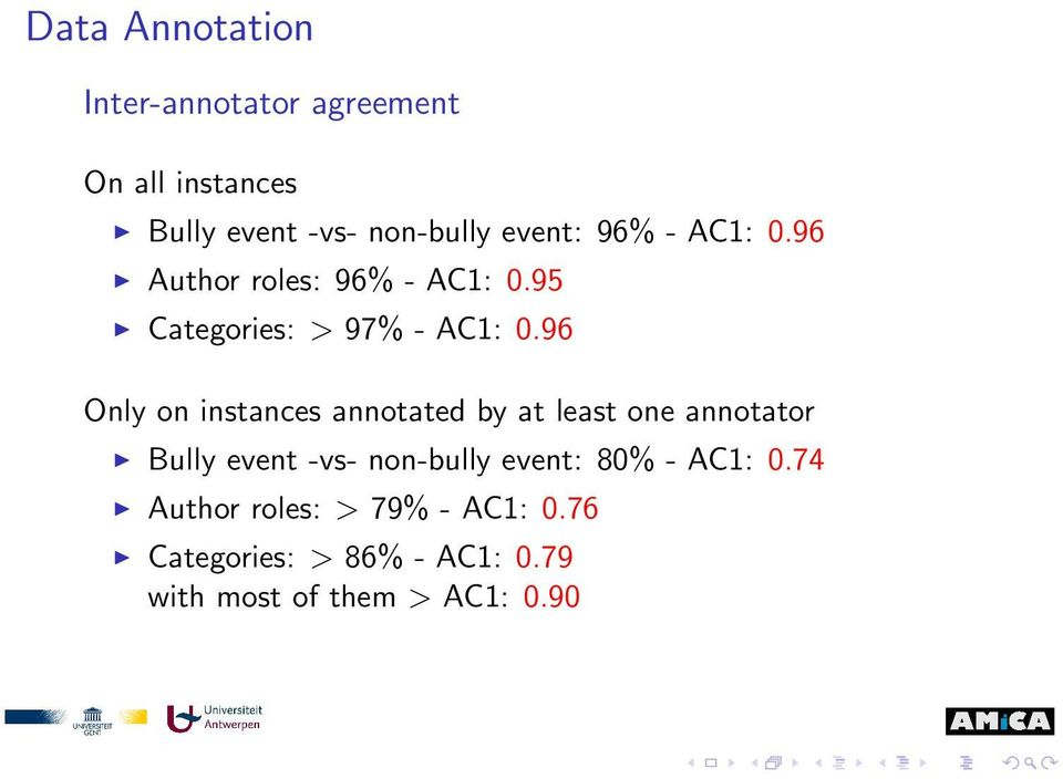 96 Only on instances annotated by at least one annotator Bully event -vs- non-bully event: