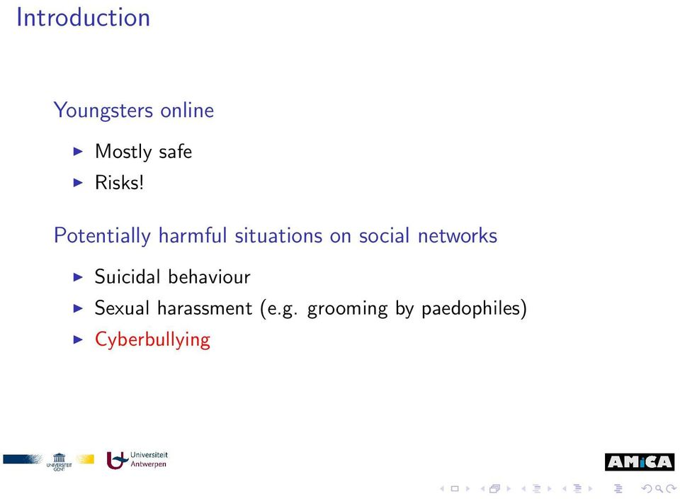 Potentially harmful situations on social