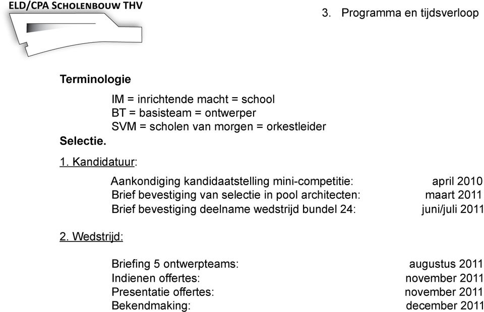 kandidaatstelling mini-competitie: april 2010 Brief bevestiging van selectie in pool architecten: maart 2011 Brief