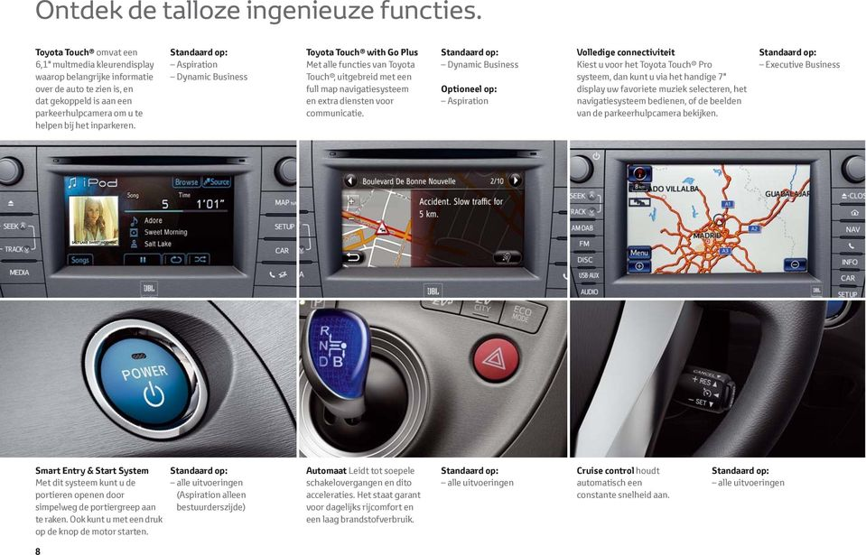 Standaard op: Aspiration Dynamic Business Toyota Touch with Go Plus Met alle functies van Toyota Touch, uitgebreid met een full map navigatiesysteem en extra diensten voor communicatie.