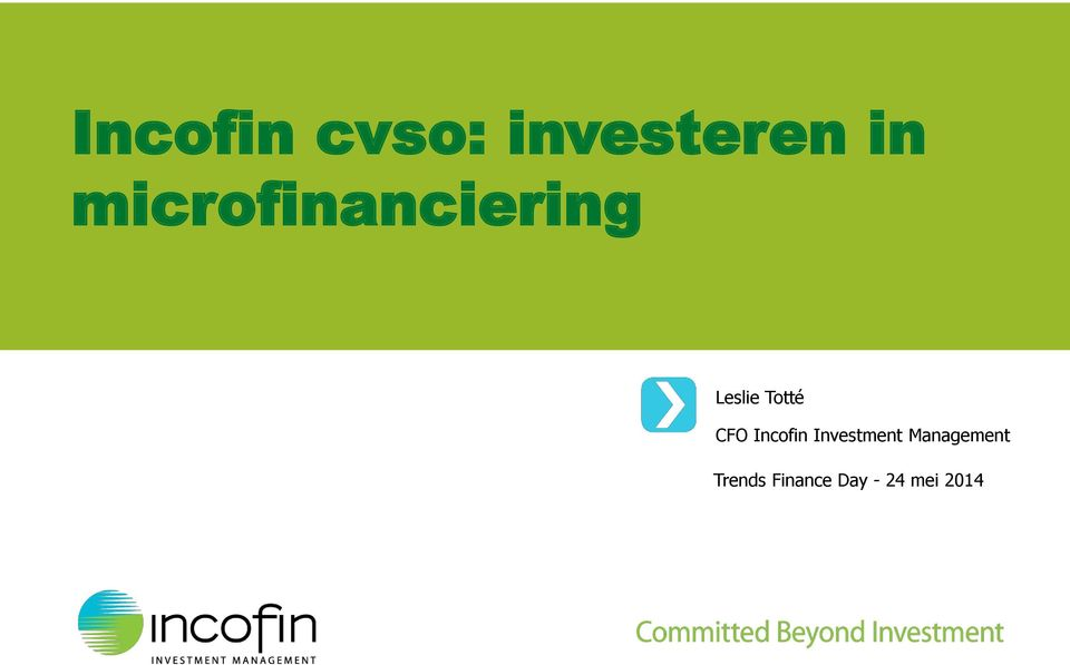 CFO Incofin Investment